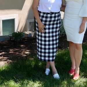 Who What Wear Gingham Midi Pencil Skirt